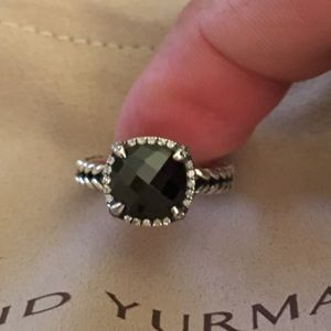 David Yurman Chatliane Onyx Diamond Ring size 7